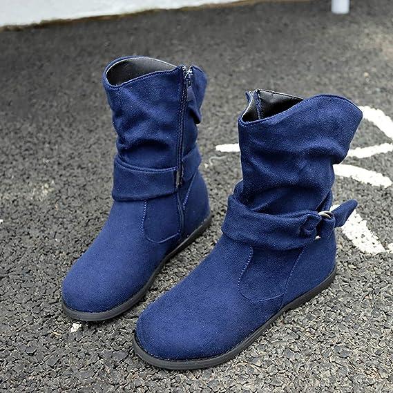 Jahrgang Stil Damen Kurze Stiefel SHOBDW Frauen Simplicity Solid Reißverschluss mit Buckle Flach Schuhe Kurz Stöckelschuhe Herbst Mode weich Bequemes