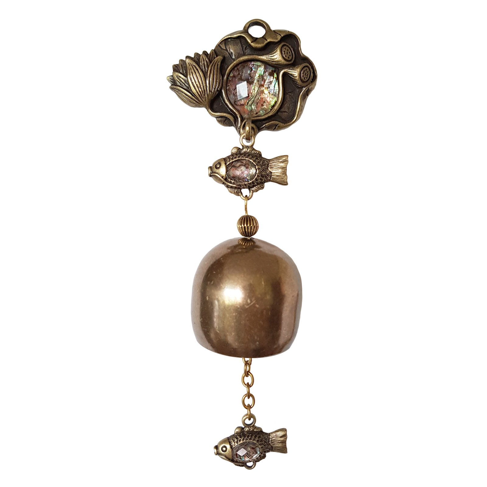 Antique Lotus Shopkeepers Door Bell Store Entry Door Chime Home Decorative One Bell (Mother-of-pearl)