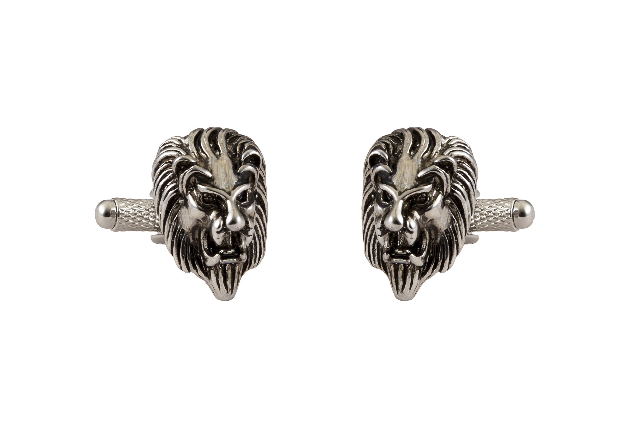Knighthood Men's Antique Silver Lion King Head Cufflinks Silver