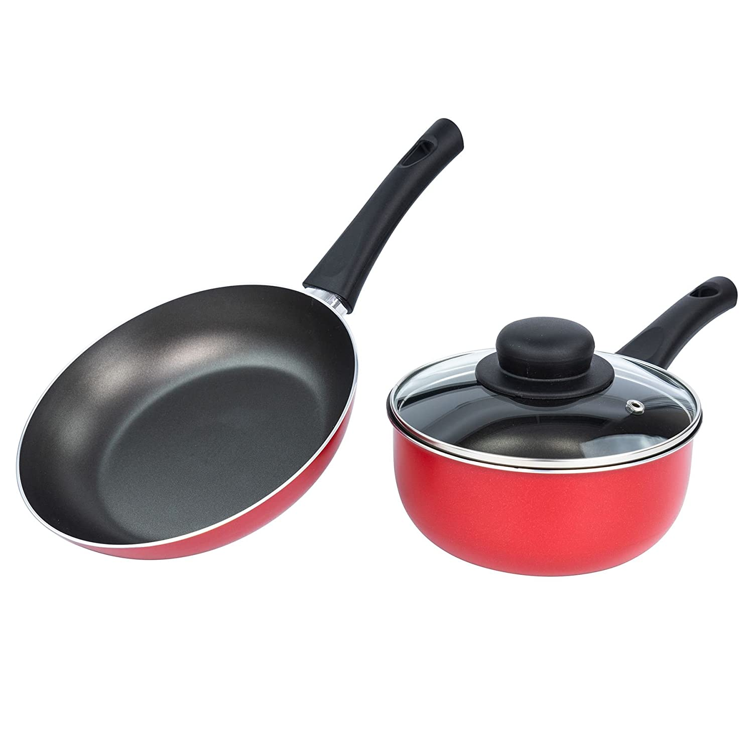 ILLA Alegria Non-Stick Cookware Set - 20cm Frying Pan & 16cm Saucepan with Lid - Red