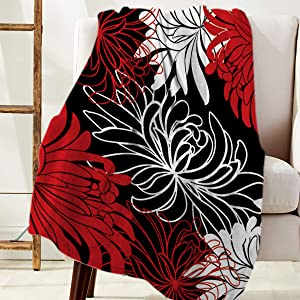 COLORSUM Soft Flannel Throw Blanket 40 x 50 inches Floral Plush Blanket Lightweight Cozy Sofa Couch Throw for Beds Office Lap, Chrysanthemum Flower Red Black White