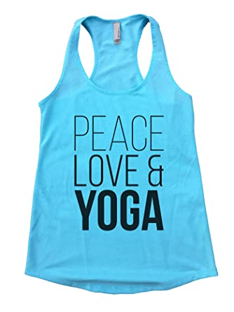 "4700be304168e Women s Cute Flowy Gym Tank Top ""Peace Love Yoga Yoga Workout Tank Top Gift  Small"
