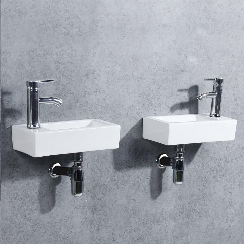 gimify lavabo mural mini evier de salle de bain ou vestiaire right hand 370 185
