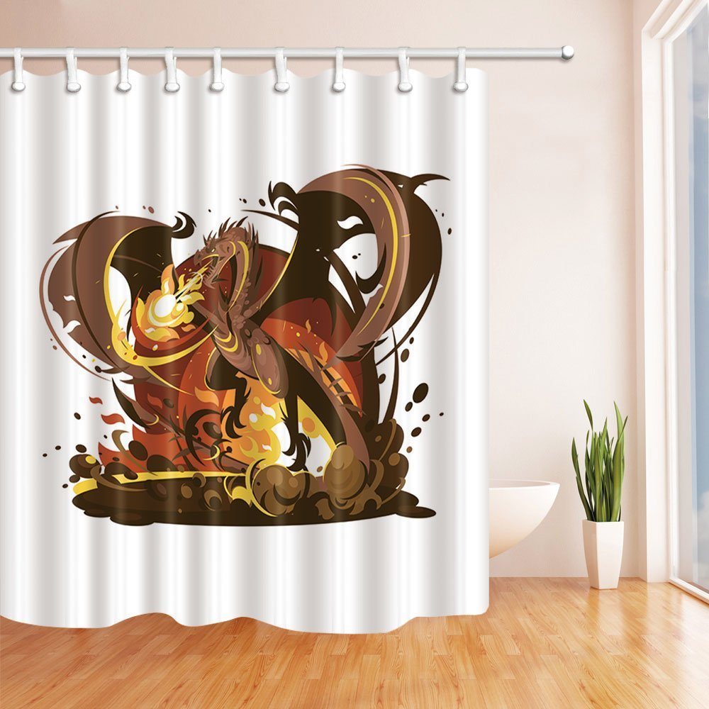 Fantasy World Gothic Dragon Fire Breathing Polyester Fabric Shower Curtain Set