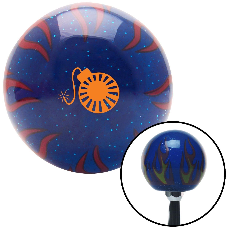 American Shifter 298200 Shift Knob Orange Rising Sun Bomb Blue Flame Metal Flake with M16 x 1.5 Insert