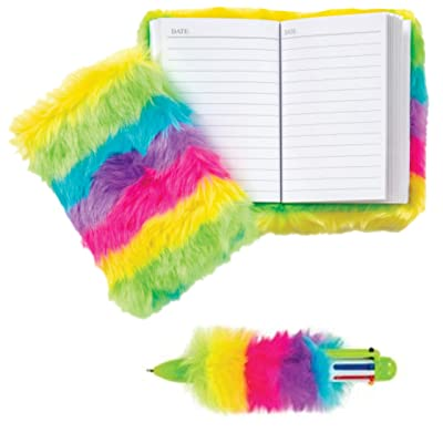 Teen and Tween Girl's Mini Gift Stuffers - Stocking Stuffers, Easter Basket Stuffers, or Add with a Gift Card. The Perfect Mini Gift! (Neon Fluffy Journal & Pen): Toys & Games