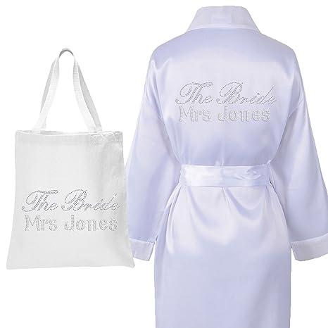 Bata de satén y bolsa con cristales, de lujo, para boda, para la