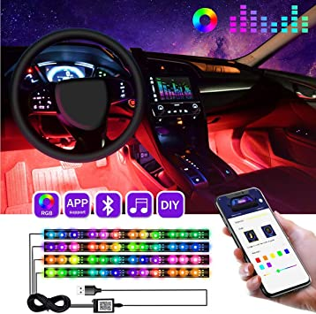 Car Interior Led Lights,4pcs 12 DC 5V Multicolor Music Car Interior LED Under Dash Atmosphere Neon Lights Kit with Sound Active Function and Wireless Remote Control