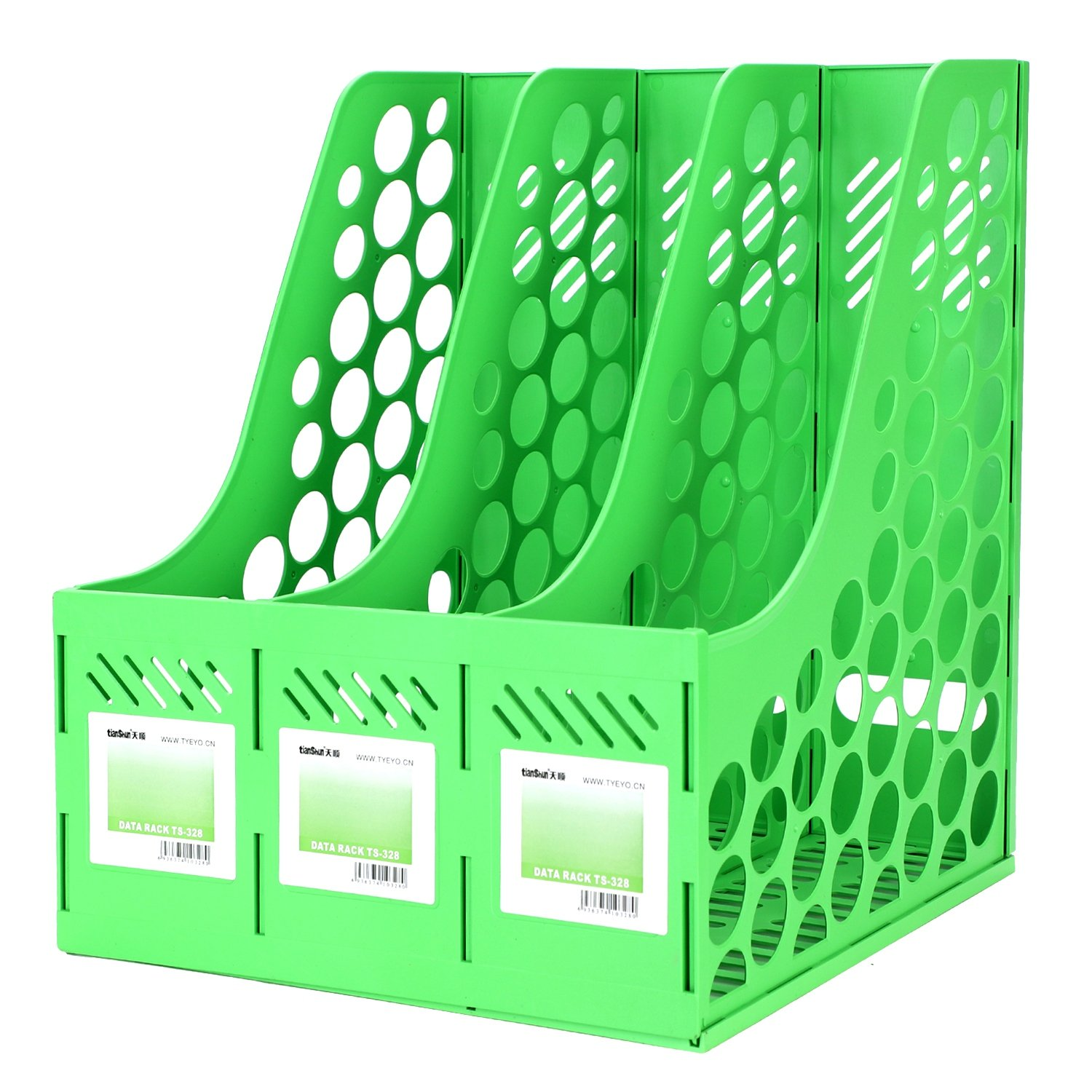 Desktop File Organizer Basket, Office/Home Portable Detachable Vertical Upright 3 Compartment Storage Bins Crate Folder Holder for Supplies