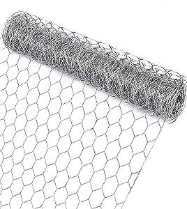 Garden Poultry Chicken Wire Netting - 13.7 '' × 157 '' Garden Fence Animal Barrier, Chicken Wire for Crafts, 1 inch Mesh Poultry Netting Fence, Pet/Rabbit/Chicken Wire Fencing