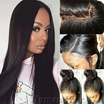ffe8b871716 S-noilite Glueless Silk Top Full Lace Wigs 100% Brazilian Human Hair Silk  Base Wig with Baby Hair Long...