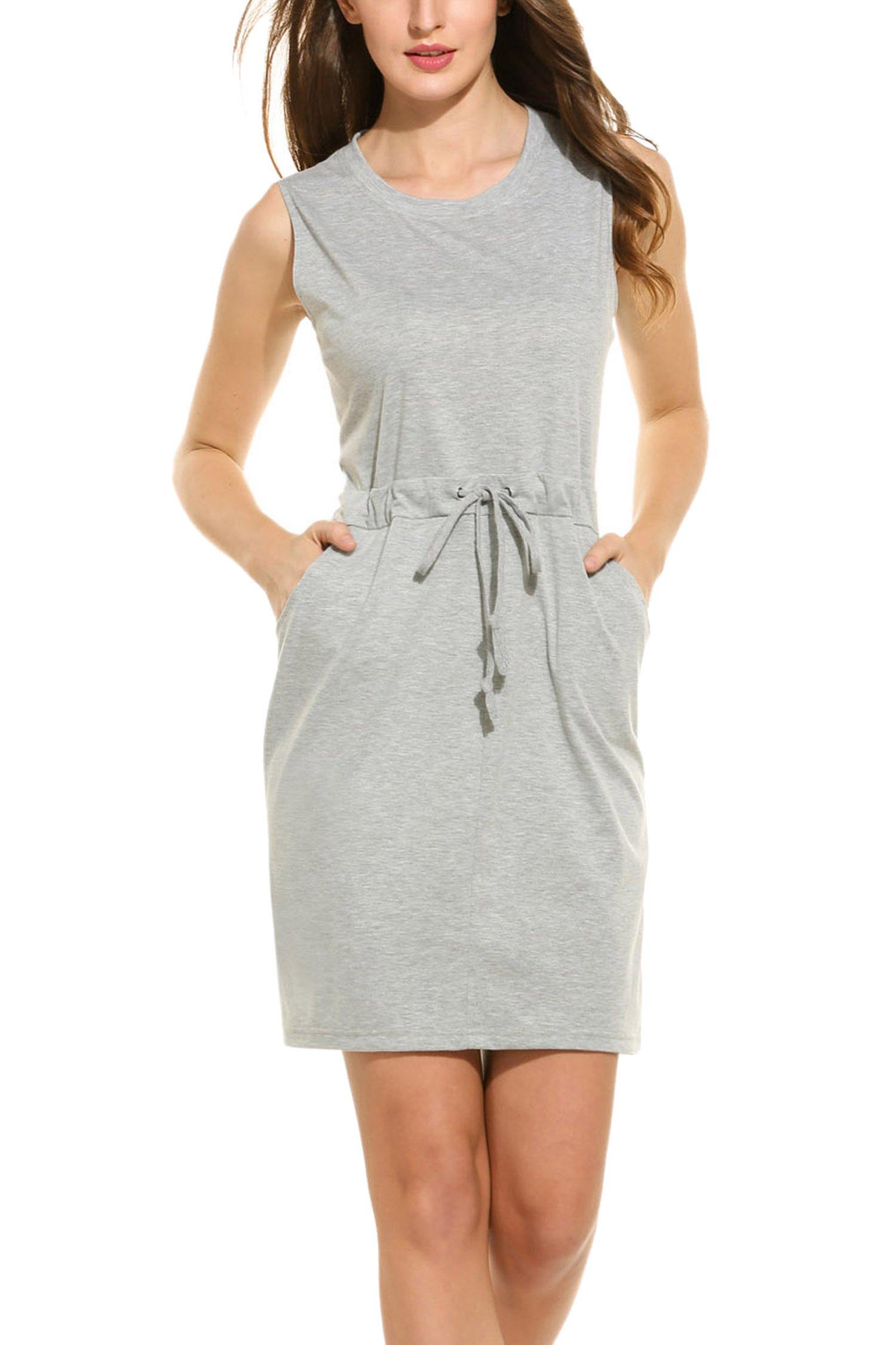 SE MIU Women's Pockets Drawstring Sleeveless Above Knee Dress