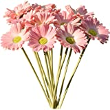 """Mandy's 12pcs Pink Artificial Latex Gerbera Daisies Flowers 15"""" PU for Home Kitchen & Wedding Decorations (vase not Include)"""