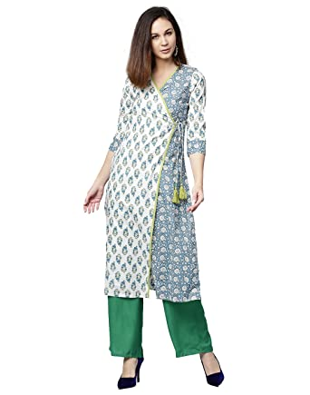 03189945b0 Jaipur Kurti Women Ethnic Casual Tunic Top Summer Dress Ethnic Motifs  Straight Cotton Kurta & Palazzo (Off White & Green): Amazon.co.uk: Clothing