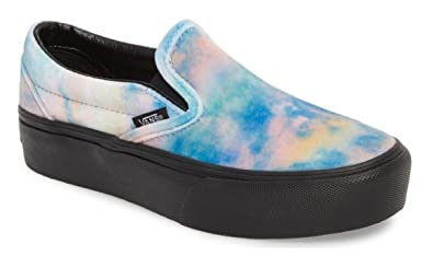 95bb6e9aa039 Vans Velvet Tie-Dye Classic Slip-On Platform Unisex Shoes Womens  Skateboarding-Shoes