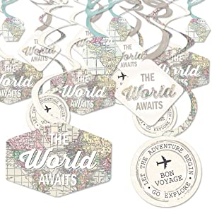 Big Dot of Happiness World Awaits - Travel Themed Party Hanging Decor - Party Decoration Swirls - Set of 40