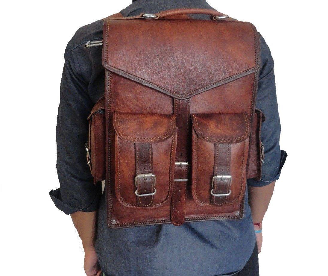 DHK 15'' Brown Vintage Leather Backpack Laptop Messenger Bag Rucksack Sling for Men Women