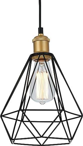 Tayanuc Industrial Pendant Light E27 Base Black Metal Diamond Caged Vintage Pendant Lighting Retro Hanging Pendant Light Fixture for Kitchen Dining Room Bar Restaurant