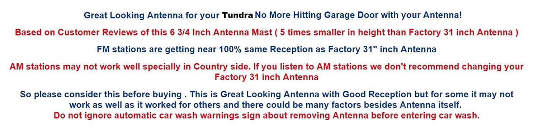 FITS 6 3//4 Antenna MAST Toyota Tundra 2007 08 09 10 11 12 13 14 15 2016 2017 2018 Trunknets Inc Ant/_Tun0718
