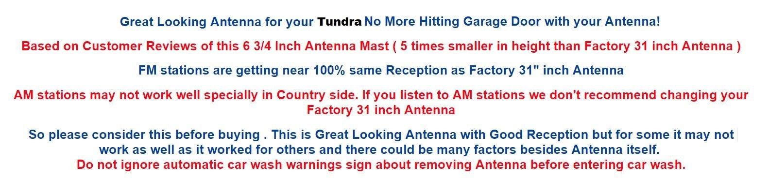 6 3/4'' Antenna MAST - FITS : Toyota Tundra 2007 08 09 10 11 12 13 14 15 2016 2017 2018