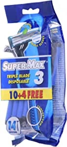 Supermax Men Disposable Triple Blade, Pack Of 10 + 4 Razors 1 Units