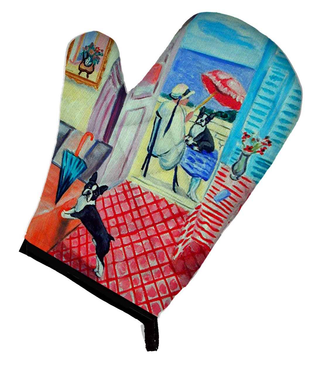 Caroline's Treasures 7120OVMT Lady with her Boston Terrier Oven Mitt, Large, multicolor