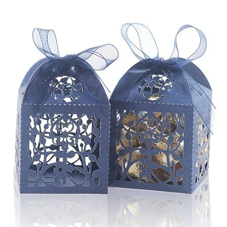 Amazon.com: COTOPHER 100 cajas cortadas con láser, diseño de ...
