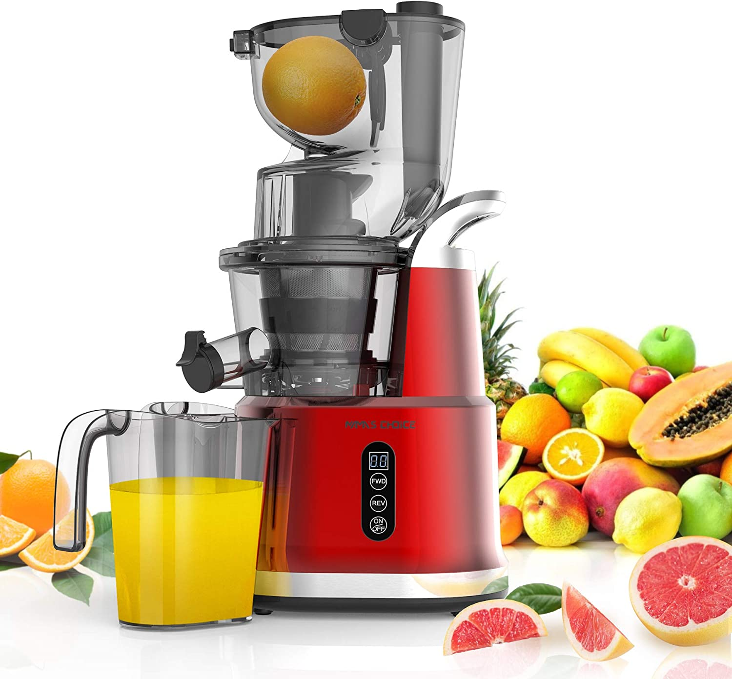 MAMA'S CHOICESlowJuicer, SlowMasticatingJuicer Machine 82mmWideChutefor Vegetable Fruit,200W ColdPress JuicerExtractorwith Quiet Motor and Reverse Function, Included Brush for Easy Clean