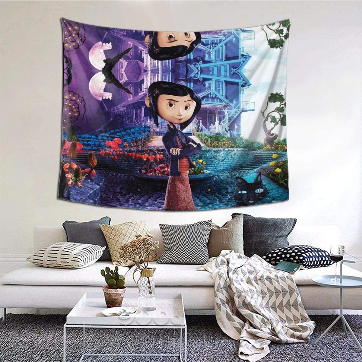Amazon Com Coraline Wide Wall Tapestry Wall Hanging Bedding Tapestry 60x51 Inch Home Art Decorations For Living Room Bedroom Dorm Decor Home Kitchen