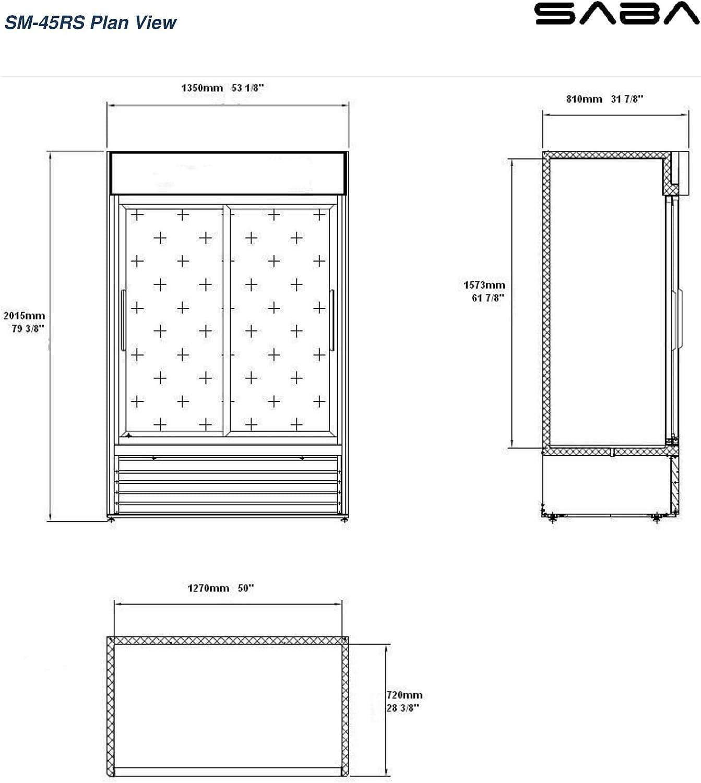 Two Glass Sliding Doors SABA Commercial Merchandiser Refrigerator