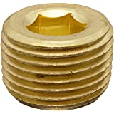 """Anderson Metals 56115 Brass Pipe Fitting, Hex Drive Countersunk Plug, 3/8"""" NPT Male Pipe"""