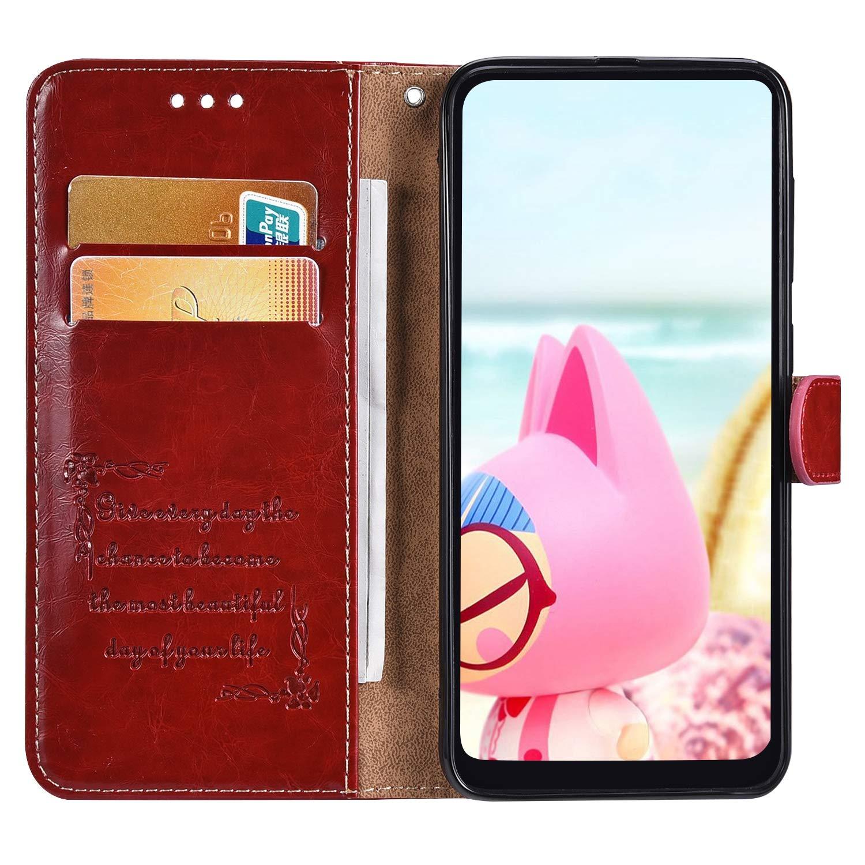 MoreChioce Coque Galaxy A60,compatible avec Coque Samsung Galaxy A60 Clapet,Brun Rouge Housse /à Rabat Etui en Cuir Antichoc Portefeuille Wallet Cover /Étui de Protection Magn/étique avec Support