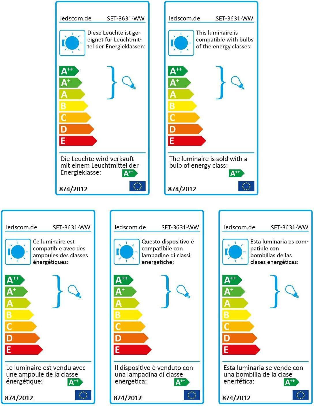 Blanche 90mm avec E27 Ampoule 800lm Blanche-Chaude Ronde avec fiche et Interrupteur ledscom.de E27 Porcelaine Douille Elektra