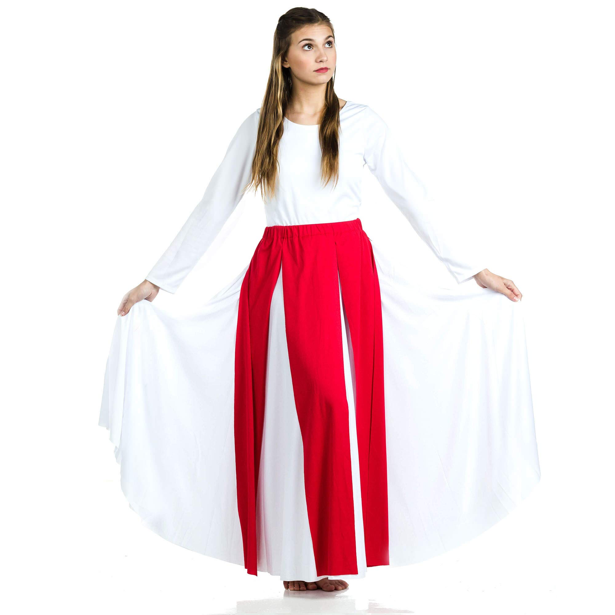 Danzcue Praise Dance Streamer Skirt, Scarlet, L-XL-Adult by Danzcue
