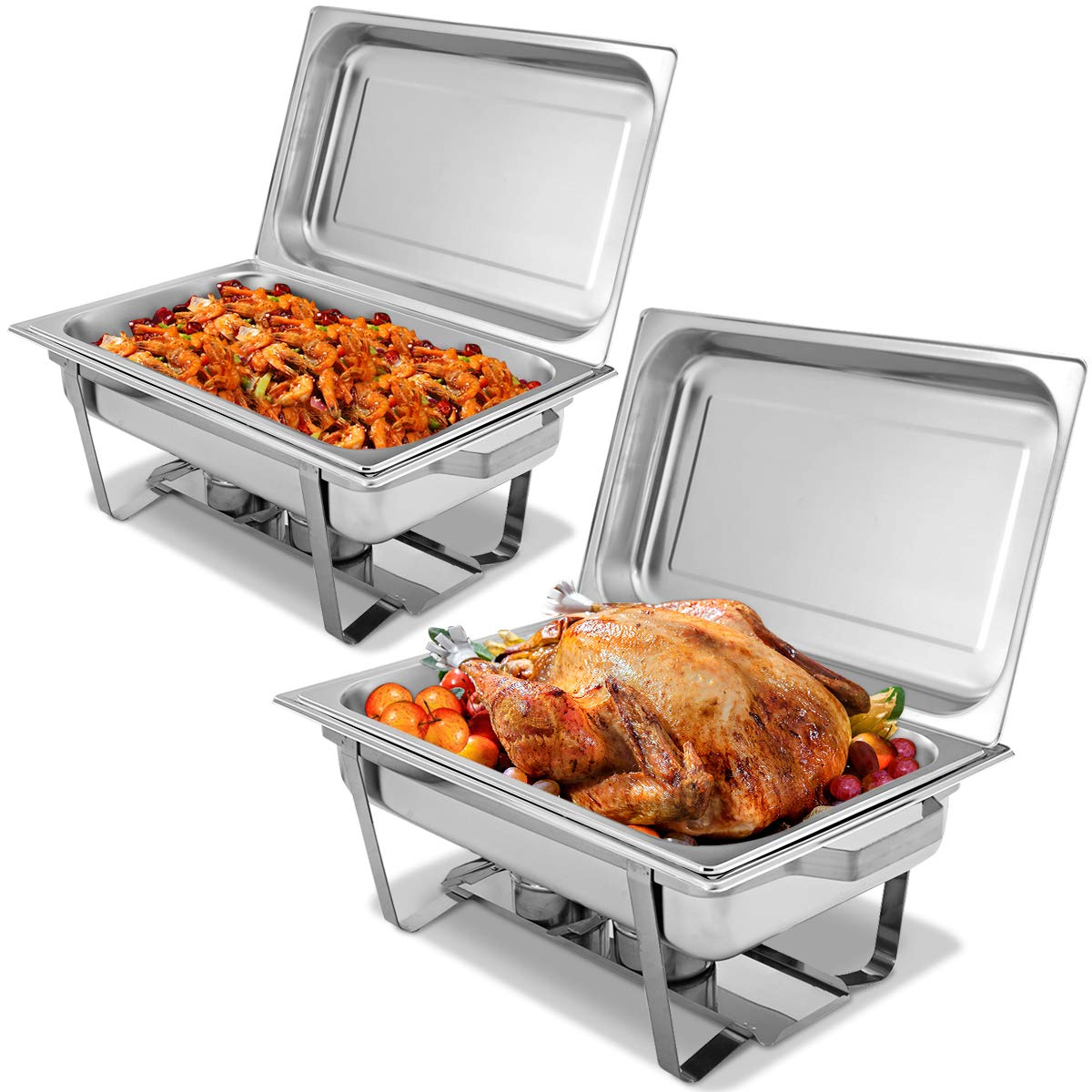 Giantex 2 Packs Chafing Dish 9 Quart Chafter Dishes Stainless Steel Chafing Dishes Rectangular Chafer Dish Set with Full Size Chafing Food Pan by Giantex