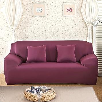 Hotniu Stretch Sofá Fundas de Sofá Reversible 1 pieza Funda para Sofá Home(2 Plazas para 145-185cm,Rojo #2): Amazon.es: Hogar