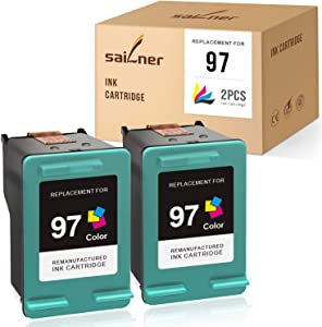 SAILNER Remanufactured Ink Cartridge Replacement for HP 97 C9363WN use with DeskJet 5940 6520 6540 6620 6830 6840 6880 OfficeJet 7210 7310 7410 PhotoSmart 2605 2608 (Tri-Color, 2 Pack)