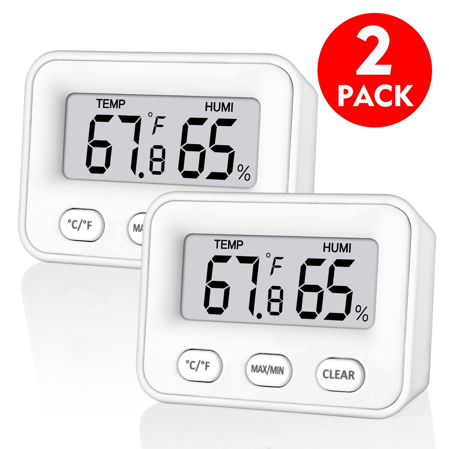 senbowe [Newest Design] 2 Pack trade; Digital Indoor Humidity Monitor Hygrometer Indoor Room Thermometer Fahrenheit Or Celsius Temperature Gauge Humidity