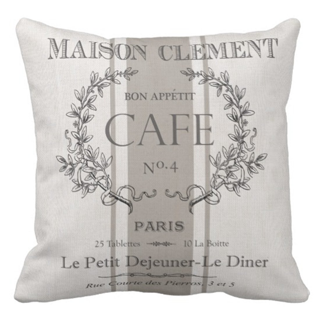 Vintage style French cafe pillow cover for adding French Country, Farmhouse French, or French Nordic style to your home.