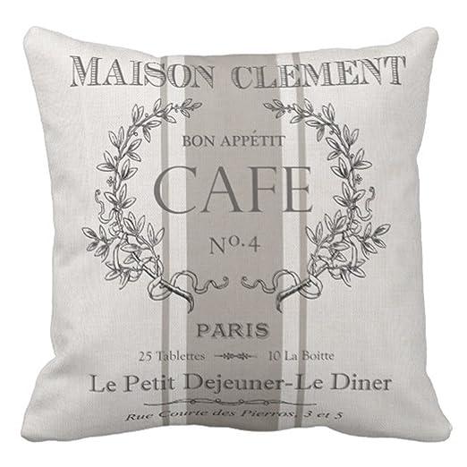 Emvency Manta Funda de Almohada Modern Vintage francés Cafe ...