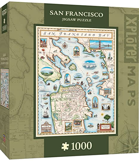 Amazoncom MasterPieces Xplorer San Francisco Bay Map 1000 Piece