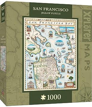 Amazoncom MasterPieces Xplorer San Francisco Bay Map 1000 Piece