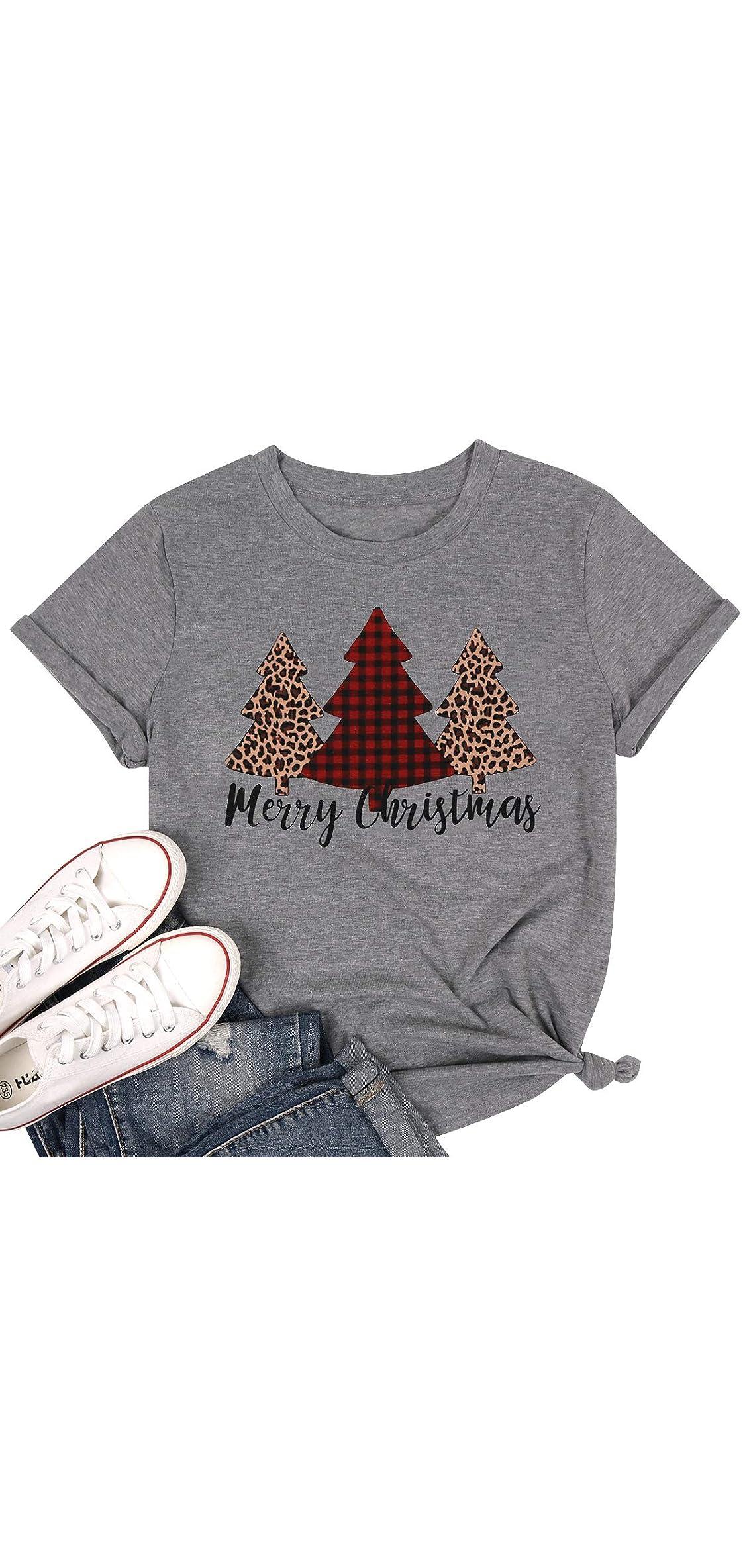 Women Merry Christmas Leopard Plaid Tree Shirt Top Short Sleeve