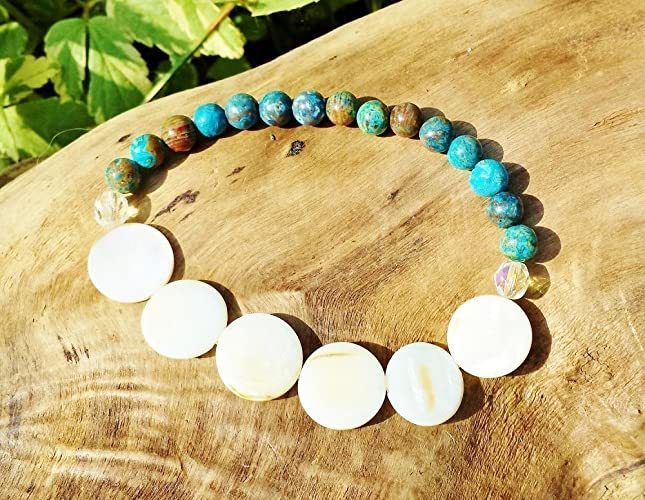 a8d49c9112930e Amazon.com: Meditation Bracelet ~ Soul Inspired Gift For Yogini ~ Mother  Earth Stones, Throat Chakra Bracelet ~ Mothers Day, Anniversary, Birthday  Gift: ...