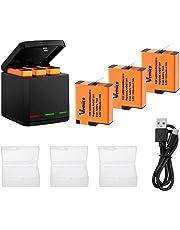 Vemico Ersatz für Gopro Akku Ladegerät Hero 7/6/5 Black Hero 2018 3 Teilige Wiederaufladbare Batterien (1500 mAh) und 3 Kanal Ladebox Typ-C USB Batteriepack mit Deckel Kompatibel mit Go Pro Action Cam