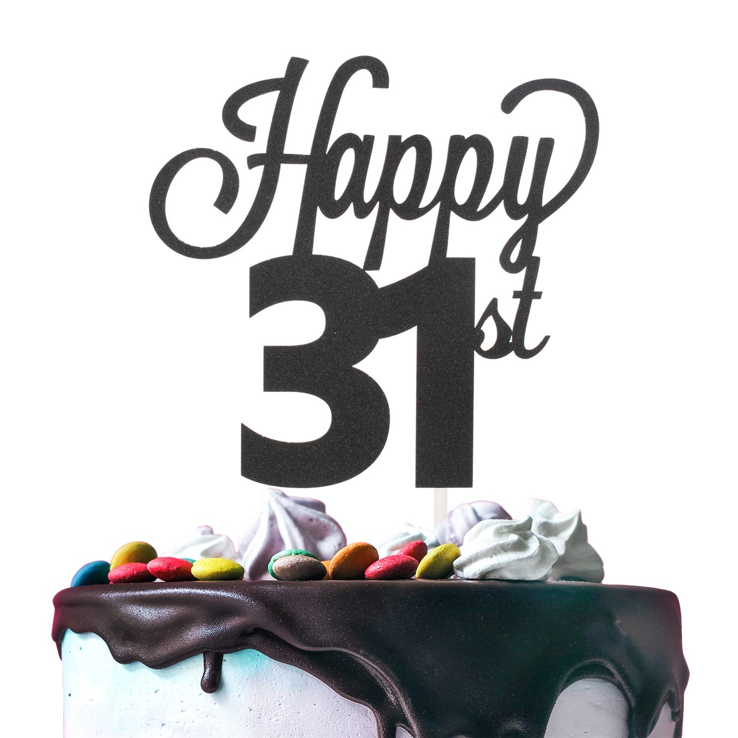 31st Happy Birthday Cake Topper Premium Double Sided Black Glitter Cardstock Paper