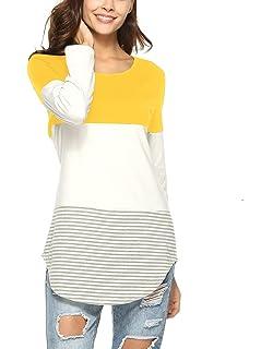 Langarmshirt Damen Lose Casual Pullover Gestreift Rundhals Tshirt ... f99f042ce2