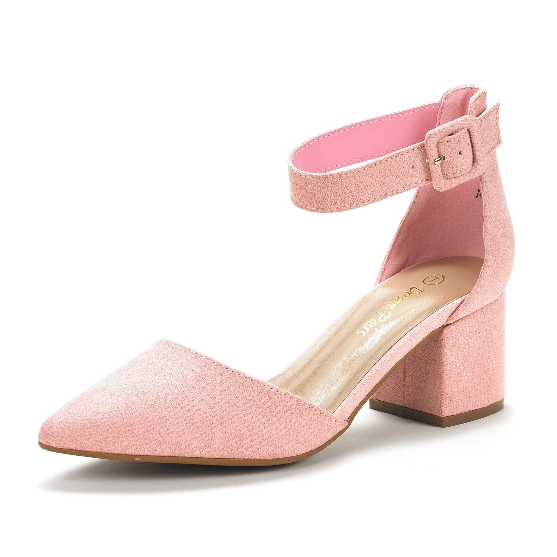 DREAM PAIRS Women's Annee Pink Suede Low Heel Pump Shoes - 6.5 M US
