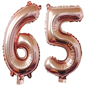40inch Rose Gold Foil 65 Helium Jumbo Digital Number Balloons, 65th Birthday Decoration for Women or Men, 65 Birthday Party Supplies