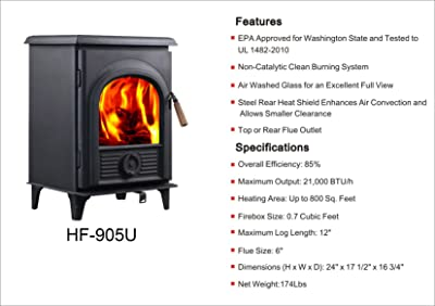 HiFlame Epa Approved Wood Burning Stove HF905U
